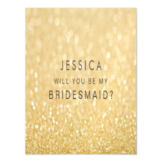 MAGNET Will you be my bridesmaid Faux Gold Glitter Magnetic Invitations