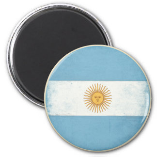 Magnet with Distressed Vintage Flag from Argentina