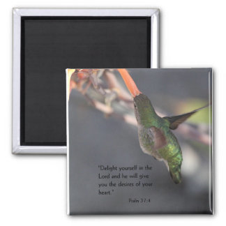 magnet with hummingbird - delight in the Lord
