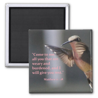 magnet with hummingbird - rest in the Lord