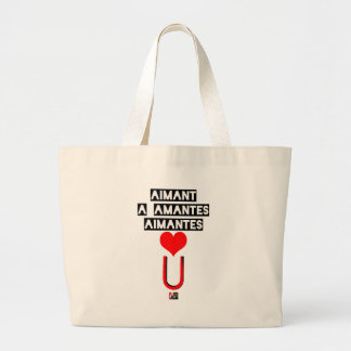 Magnet with loving lovers - Word games Large Tote Bag