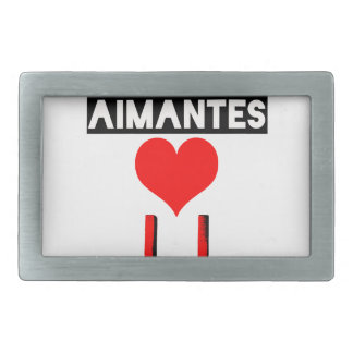 Magnet with loving lovers - Word games Rectangular Belt Buckles