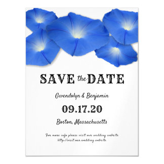 Magnetic Blue Floral Save the Date Announcement