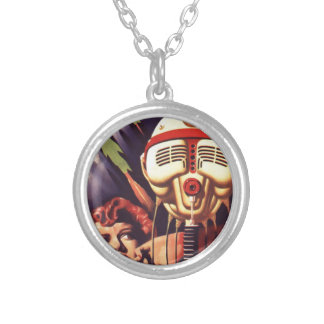 Magnetic Brain Silver Plated Necklace