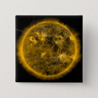 Magnetic field lines on the Sun 2 Inch Square Button