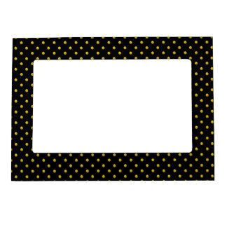 Magnetic Picture Frame/Black with Gold Polka Dots Magnetic Frames