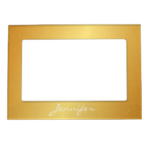 Magnetic Picture Frame - Gold Confetti Name