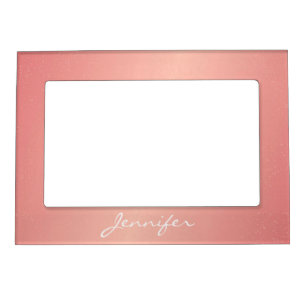 Magnetic Picture Frame - Pink Confetti Name
