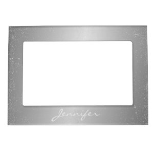 Magnetic Picture Frame - Silver Confetti Name