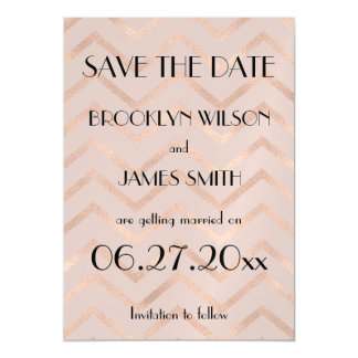 Magnetic Rose Gold Chevron Wedding Save The Date Magnetic Card