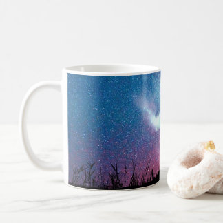 Magnificent Bull Elk Silhouette Against Starry Sky Coffee Mug