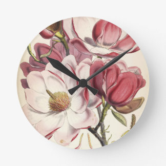 Magnificent Magnolia Round Clock