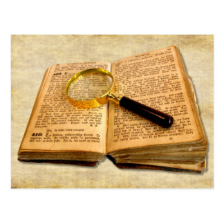 Magnifying Glass and Old Book Postcard