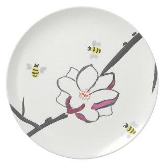 Magnolia and Honey Bees Plate