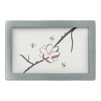 Magnolia and Honey Bees Rectangular Belt Buckles