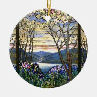 Magnolia and Iris Vintage Window Design Ceramic Ornament