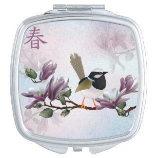 """Magnolia bird """"Spring"""" Compact Mirrors"""