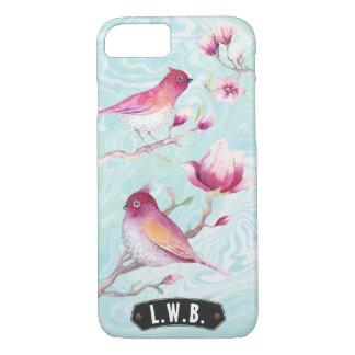 Magnolia & Birds Monogram Pink Blue | Personalized iPhone 7 Case