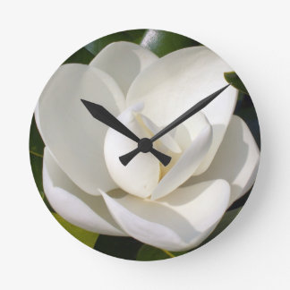 Magnolia Bloom Round Clock