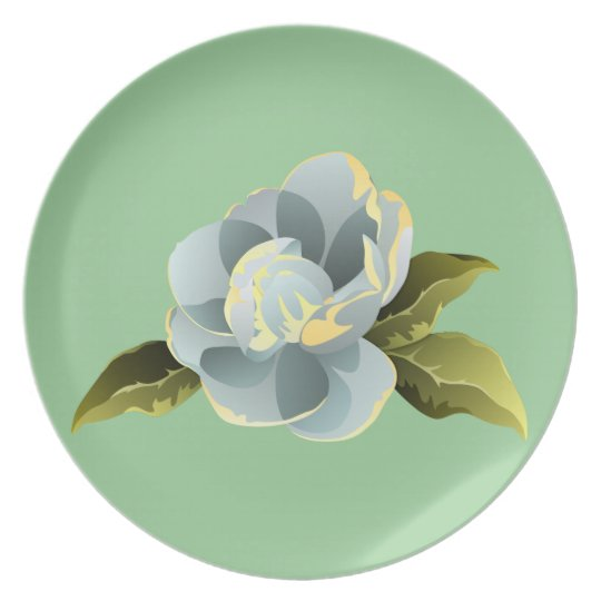 Magnolia Blossom with Leaves Plate