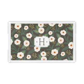 Magnolia Blossoms Floral Monogram Serving Tray