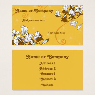 Magnolia Blossoms on Bright Amber Business Card