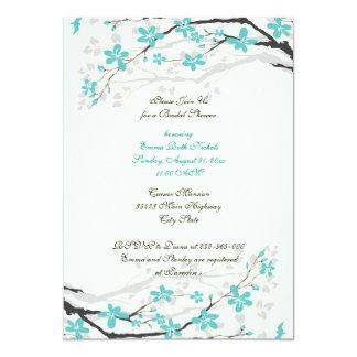 Magnolia branch turquoise bridal shower invitation