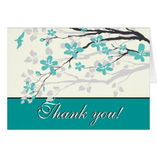 Magnolia branch turquoise wedding Thank you Card