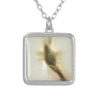 magnolia bud silver plated necklace