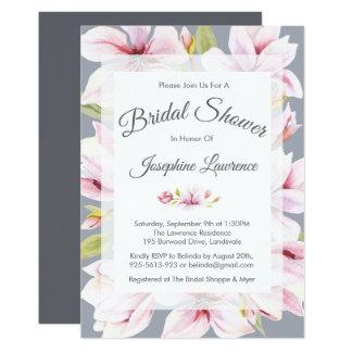 Magnolia Charm Floral Bridal Shower Invitations