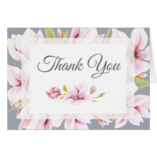 Magnolia Charm Watercolor Floral Thank You Card