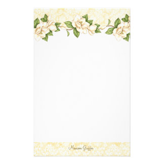 Magnolia- Damask Personalized Writing Paper Stationery Paper
