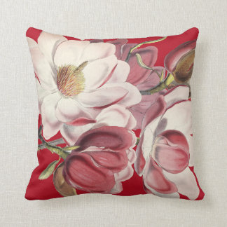 Magnolia Floral Garden Flowers Throw Pillow