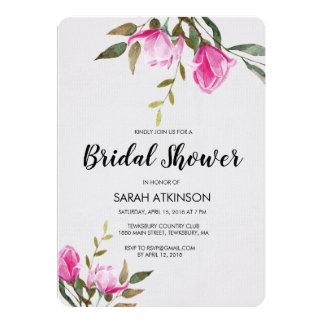 Magnolia Floral Watercolor Engagement Invitation