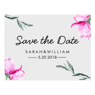 Magnolia Floral Watercolor Save The Date Postcard