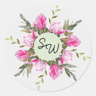 Magnolia Floral Watercolor Wedding Sticker