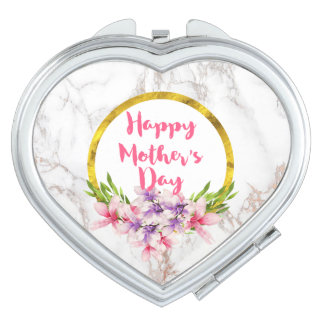 Magnolia Florals on White Marble Mother's Day Compact Mirror