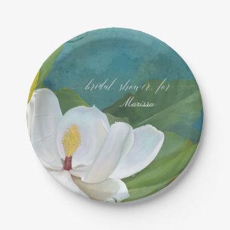 Magnolia Flower Blossom Bridal Shower Modern Blue Paper Plate