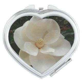 Magnolia Flower  Heart Compact Mirror