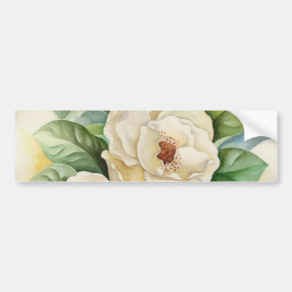 Magnolia Flower Watercolor Panting Bumper Sticker