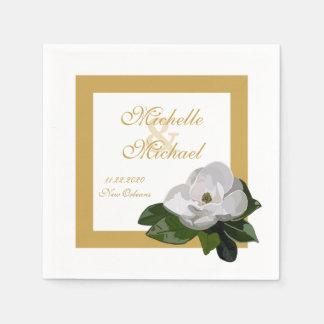Magnolia Flower Wedding Event Disposable Napkins