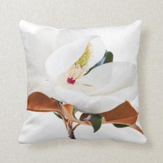 Magnolia Flower White Magnolias Floral Blossom Throw Pillow