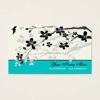 Magnolia flowers black grey turquoise floral business card