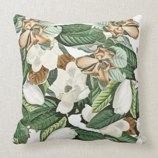 Magnolia Flowers Floral Leaves Throw Pillow