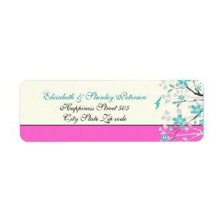 Magnolia flowers turquoise, hot pink wedding label return address label