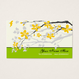 Magnolia flowers yellow lime green floral business card