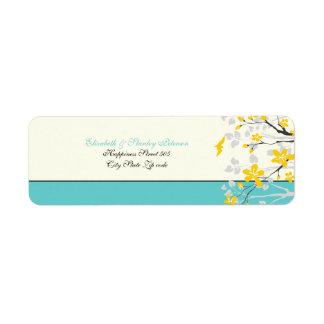 Magnolia flowers yellow turquoise wedding label return address label