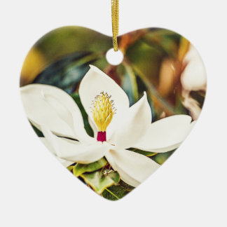 Magnolia in Bloom Ceramic Heart Ornament