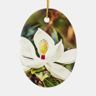 Magnolia in Bloom Ceramic Oval Ornament