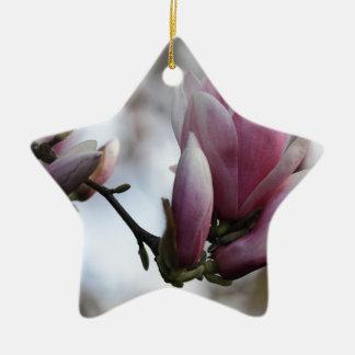magnolia in bloom ceramic star ornament